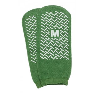 Slipper Socks; Medium Green Pair Men's 5-6 Women's 6-7 Child 7-11