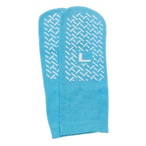 Slipper Socks; Large Sky Blue Pair Men's 7-9 Women's 8-10