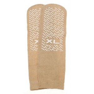 Slipper Socks; XL Beige Pair Men's 10-12 Women's 11-13