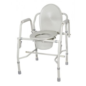 Drop Arm Commode Deluxe Steel