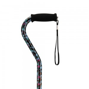 Cane Offset Black With Flowers