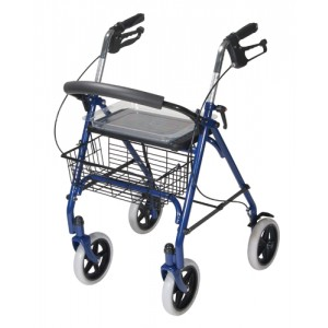 4 Wheel Steel Rollator With 8 Casters & Basket-Loop-Red
