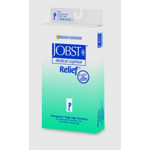 Jobst Relief 20-30 Thigh High Black Large With Silicone Band