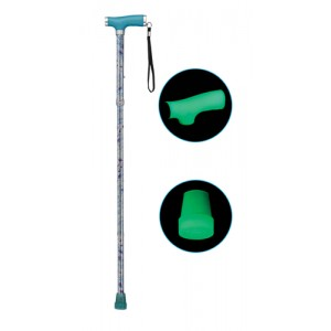 Folding Alum Cane With Glow Grip Handle & Tip Butterfly