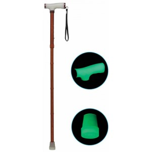 Folding Alum Cane With Glow Grip Handle & Tip Wood Color