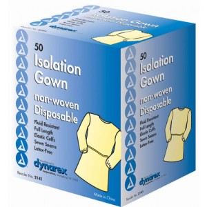 Fluid Proof Poly-Coated Isolation Gowns Case/50