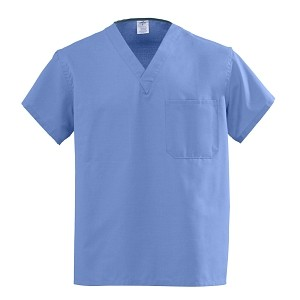 Universal V-Neck Scrub Top Reversible Ceil Blue Large