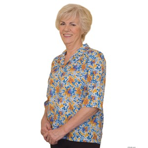 Womens Adaptive Open Back Cotton Blouses - Nursing Home - Back Snap