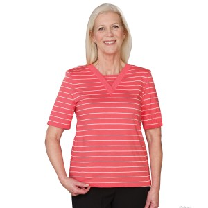 Adaptive V Neck Cotton T-Shirt For Women - Disabled Adults