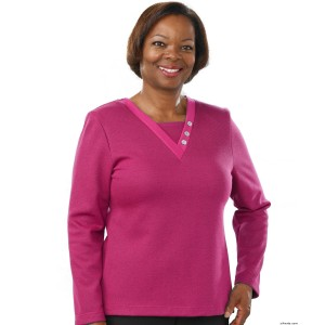 Warm Adaptive Wheelchair Clothing Top For Women - Long Sleeve - Back Snap