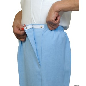 Womens Plus Size Open Side Snap Adaptive Pants - Nursing Home Clothing