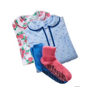 2 Hospital Gowns & 2 Non Slip Slip Resistant Slipper Socks - 4 Piece Value Gift Pack