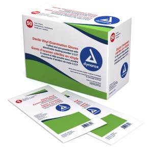 Sterile Vinyl Exam Gloves Medium - 50 Pair/ Box
