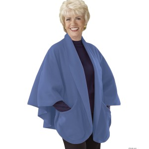 Womens Cozy Pocket Cape Fleece Shawl