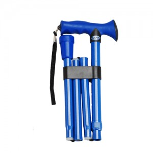 Folding Cane Soft Grip Blue