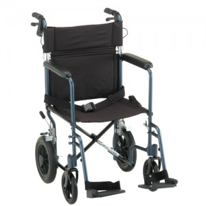 "Transport Chair 20"" Lightweight With Handbrakes Black"
