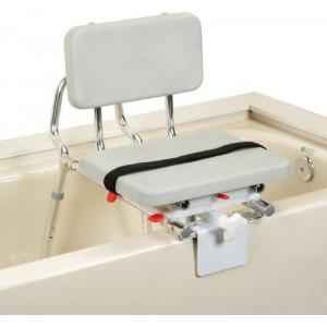Snap-N-Save Sliding Tub-Mount Transfer Bench With Pad Swivel Seat/Black