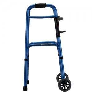 "Folding Walker With 5"" Wheels Designer Blue"