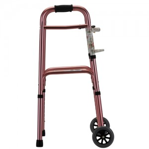 "Folding Walker With 5"" Wheels Designer Pink"