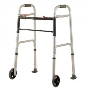 "Folding Walker With 5"" Wheels 2 Button Standard"