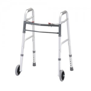 "Folding Walker With 5"" Wheels 2 Button X-Small"