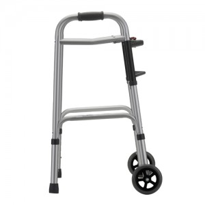 "Folding Walker With 5"" Wheels 2 Button Small"