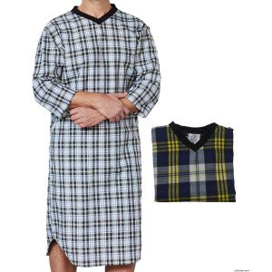 Hospital Gowns Value 2-Pack Men's Open Back Nightgowns - Back Snap Night Gowns