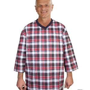 Hospital Gowns - Men's Flannel Open Back Adaptive Hospital Patient Gowns - Back Snap Night Gowns