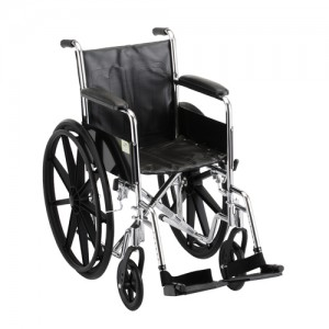"Wheelchair Steel 16"" Fixed Full Length Arms Swing Away Footrests"