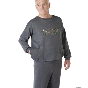 Adaptive Clothing For Men - Adaptive Fleece Sweat Shirt Top - Back Snap