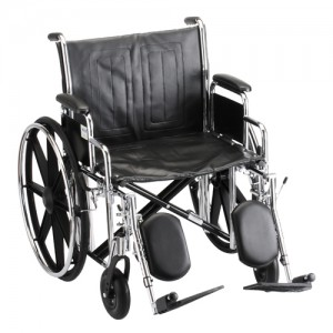 "Wheelchair Steel 22"" Detachable Arms Elevating Leg Rests"
