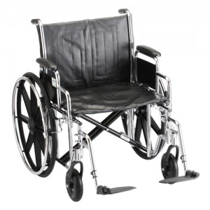 "Wheelchair Steel 22"" Detachable Arms Swing Away Footrests"