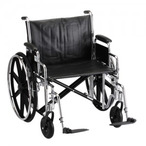 "Wheelchair Steel 24"" Detachable Arms Swing Away Footrests"