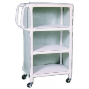 PVC Supply Cart With Ergonomic Handles- wt cap: 75lbs./Shelf