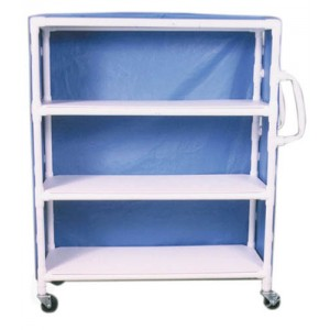 PVC Supply Cart With Ergonomic Handles- wt cap: 125lbs./Shelf