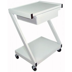 Z-Cart Steel 2-Shelf With Drawer White