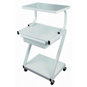 Z-Cart Steel 3-Shelf With Drawer White