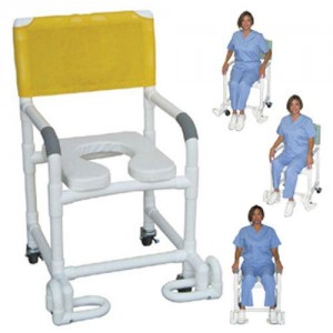 Shower Chair PCV With Deluxe Elongated Soft Seat & Footrest
