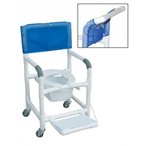 Shower Chair PVC Dlxe Drop Arm With Folding Footrest & Square Pail