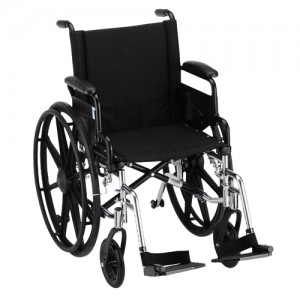 """Wheelchair Lightweight 18"""" Foldable Desk Arms Swing Away Footrests"""