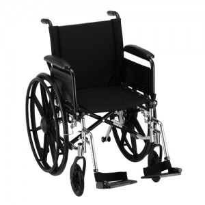 "Wheelchair Lightweight 18"" Flip Up Arms Swing Away Footrests"