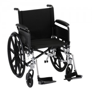 "Wheelchair Lightweight 20"" Flip Up Arms Swing Away Footrests"