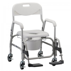Shower Commode With Wheels & Swing Away Footrest