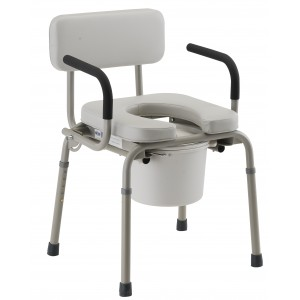 Drop Arm Commode Padded Gray