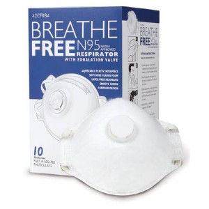 N95 Respirator Mask With Valve Breathe-Free Box/10