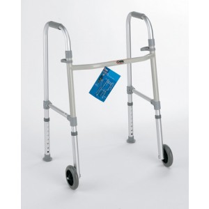 Walker Dual Paddle Folding With 5 Wheels & Glides