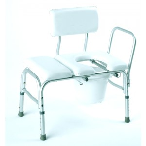 Bathtub Transfer Bench Vinyl Padded With Cut-Out & Pail