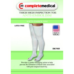 Anti-Embolism Stockings Large/Reg 15-20mm High Thigh High Inspection Toe