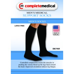 Men's Firm Support Socks 20-30mm High Navy Large