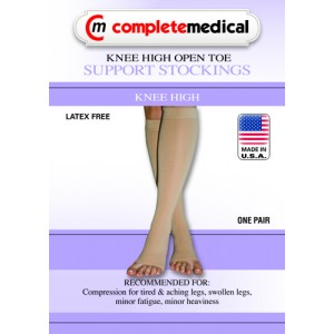 Firm Surgical Weight Stockings Medium 20-30mm High Below Knee Open Toe Black